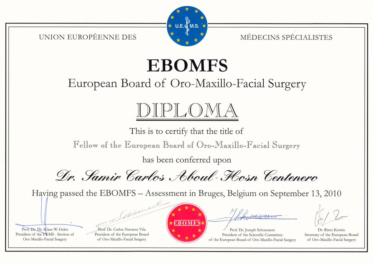 Title of Fellow oh the European Board of Oro-Maxillo-Facial Surgery By EBOMFS