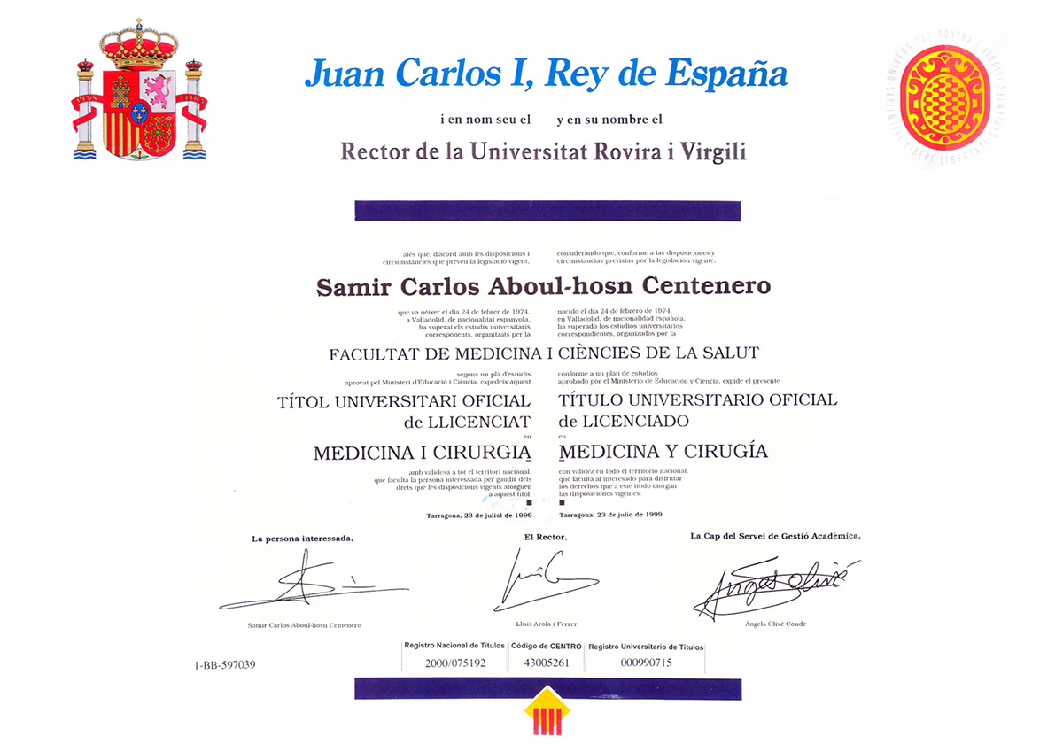 Official University Degree of Bachelor in Medicine and Surgery
