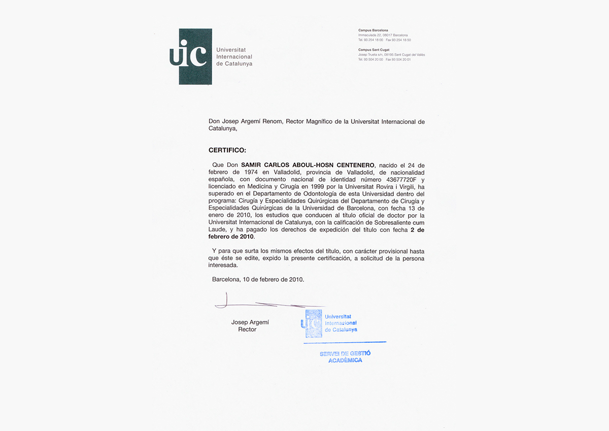 Official title of Doctor by UIC Cum Laude